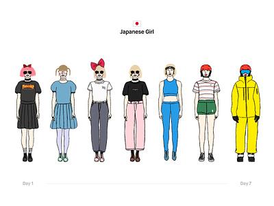 Japanese Girl people japanese girl japan harajuku wear girl illustration series charachter