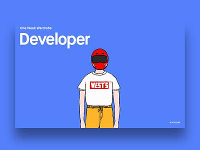 Developer - One Week Wardrobe helmet one week one week wardrobe wardrobe developer charachter series illustration