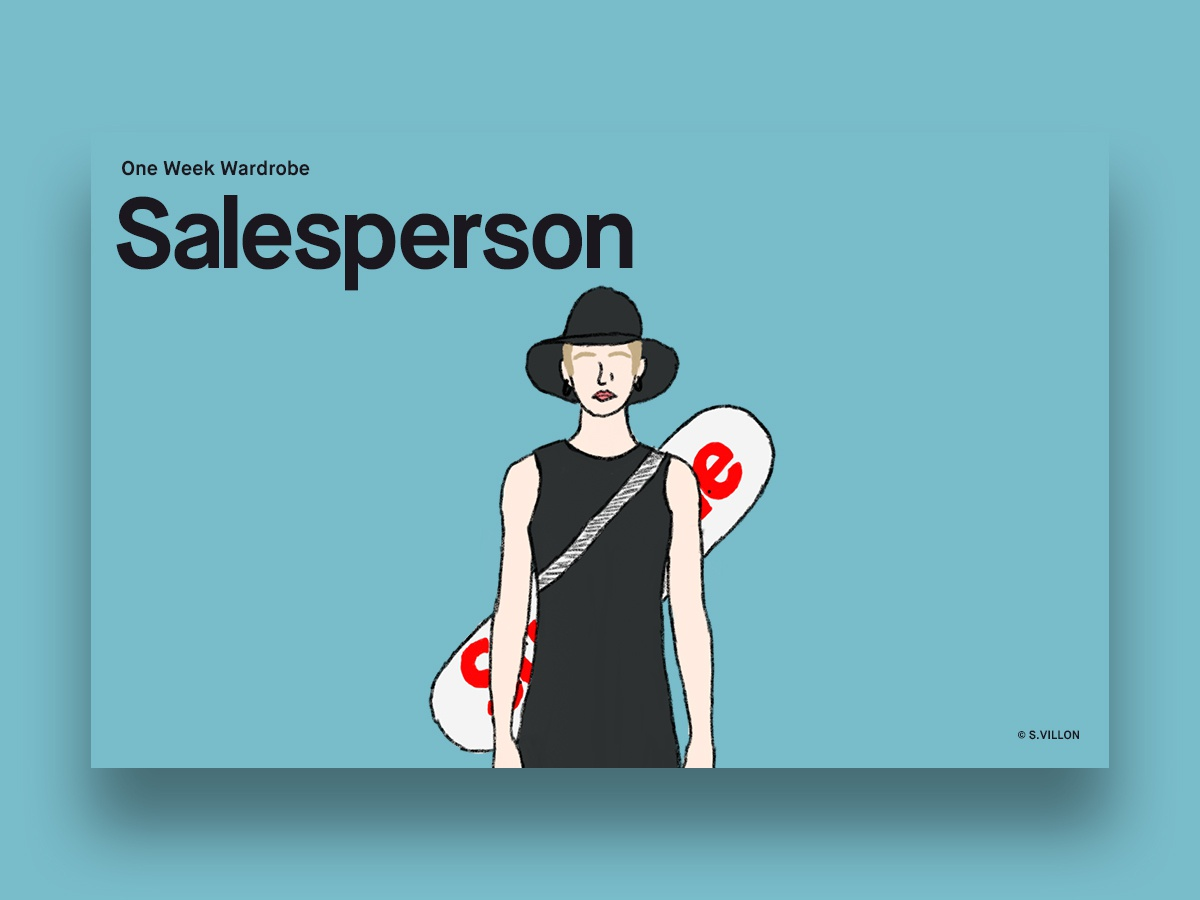 Salesperson - One Week Wardrobe & 2 Invites. dribbble invite invites invitation wear one week wardrobe salesperson charachter invite series illustration
