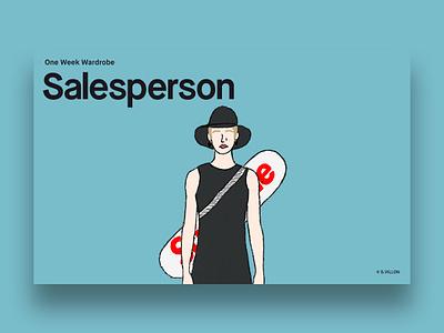 Salesperson - One Week Wardrobe & 2 Invites. dribbble invite invites invitation wear one week wardrobe salesperson charachter invite series illustration