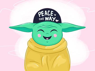 Baby Yoda pink disney plus disney alien baby cute love peace procreate illustrators illustration the mandalorian star wars baby yoda