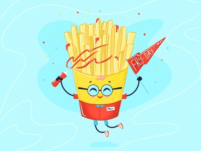 Fry-day!Yay! summer jump happy little red yellow handmade celebrate celebration glasses food procreate cute fun funny fast food fries weekend week friday