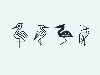 Heron identity design brand identity branding iconography line art everglades birds florida heron logo design icon logo