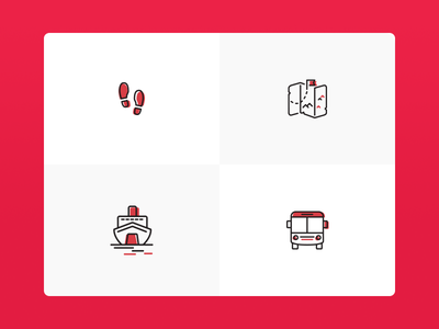 All About Travel - Iconography tour travel maps walk bus ship lineicons black red icons iconography multilayer