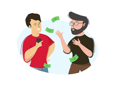 Invite & Earn visual ui illustration mobile cash money earn invite
