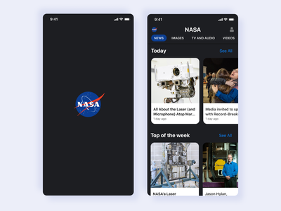 NASA Home page mobile apps space mobile ui ux mobile app design mobile app nasa dark branding app ui