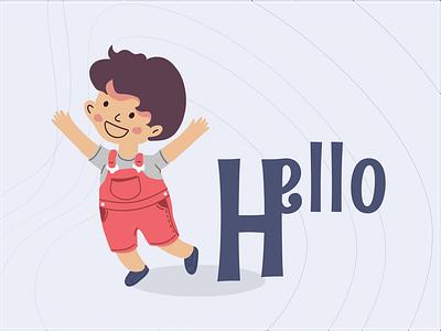 My name is Jo, and I say Hello typogaphy vectorart kids art illustration art character design art kids kid characterdesign characters boy vector illustration
