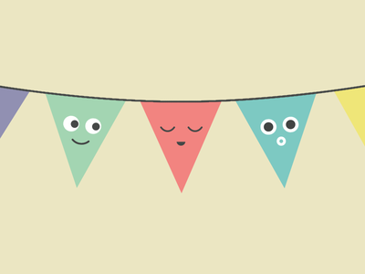 Party character party banner illustration happy bunting party banner bunting