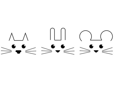 Animals shape icon geometric minimal bunny cat mouse character drawing illustration animals