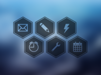 Hexicons hexicon icon psd download freebie free office free icon hexagon icon office icons clock mail spanner calendar pencil bolt