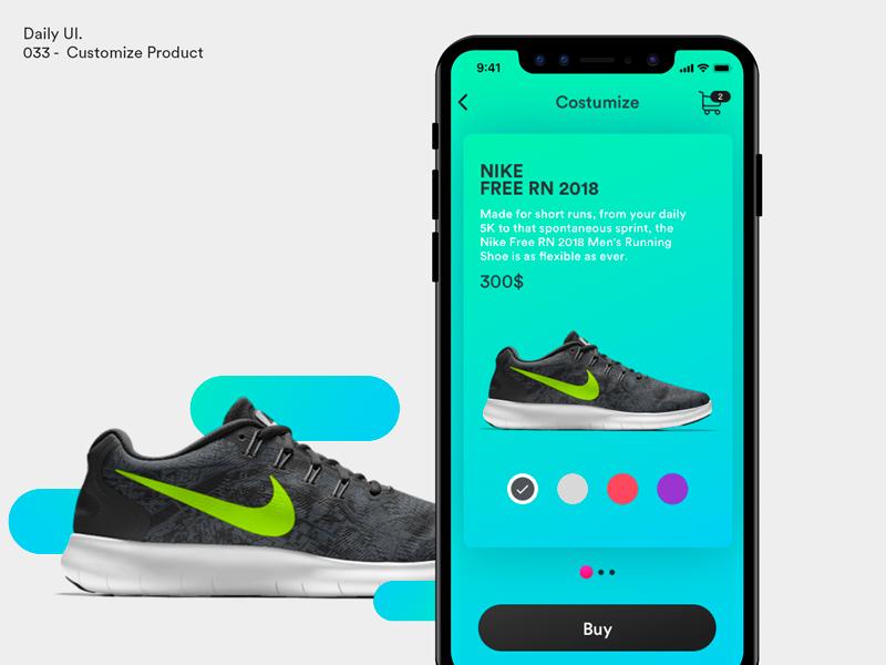 Daily UI - Customize Product ecommerce shoes customize card nike product design ux ui dailyui