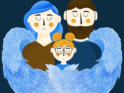 Good Angel Charity Illustration family children illustrations family care charity illustration digital art illustration good angel