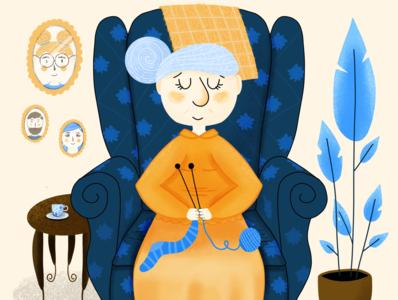 Help Elderly People Charity Illustration