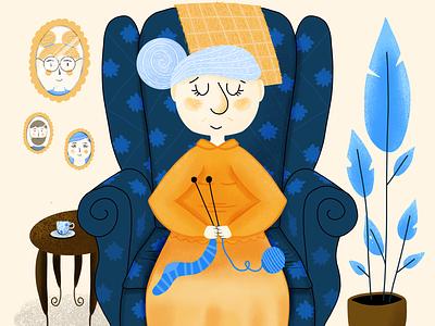 Help Elderly People Charity Illustration grandmother granny illustration elderly children illustrations digitalart illustration