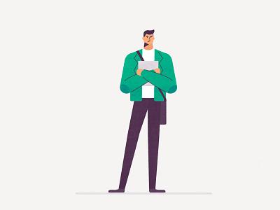 Architect Intern student architect man character design design illustration flat vector character