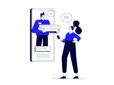 You've got delivery man flat character vector woman blue illustration phone pizza