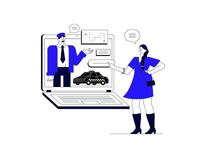 Driver Service service app service digitalization digital computer laptop car driver man vector art flat illustration character vector woman blue