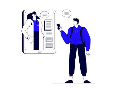 Digitalization services - Medical service services medical doctor man illustration flat character vector blue mobile digitalization tablet