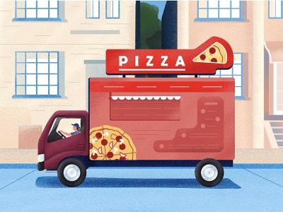 Pizza Truck delivery truck delivery texture character woman illustration vector flat pizza logo blue car truck pizza