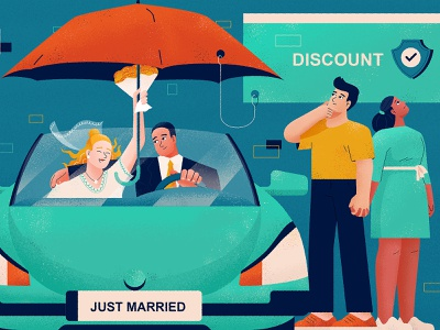 Married Couples' Insurance Rates design man woman flat illustration character vector relationship couple blue insurance auto car just married married discount