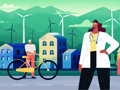 Eco City design vector illustration flat character cha woman doctor power electricity renewable green city eco