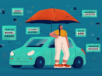 Cost of Car Insurance vehicle teal illustration flat character vector blue auto woman factor cost insurance car