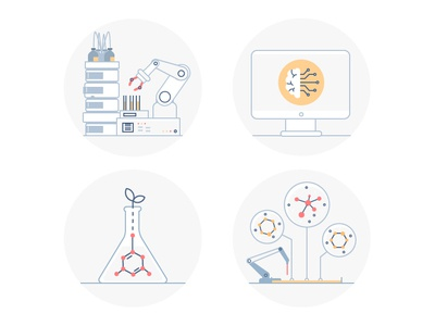 Automated Lab Icons automated experiment icon laboratory lab artificial intelligence ai