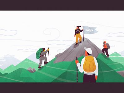Race To The Top hike hiking banking climbing climb green bank characters race mountain