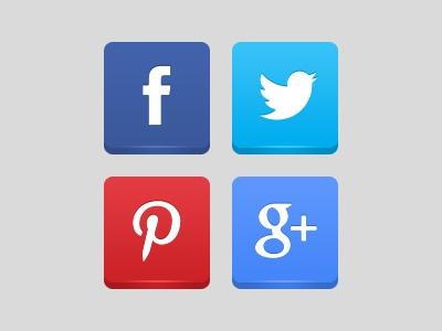 Social Icons shine button simple