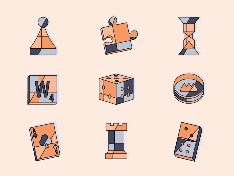 Game Icons design illustration 2d shapes game icons