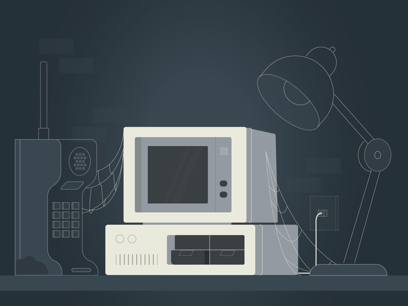 Outdated Technology illustration vector graphic design design illustrator old technology 80s desk spider spider web lamp computer cell phone technology outdated technology