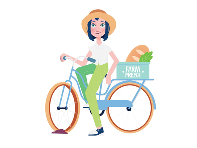 Farm Fresh Delivery summer girl bicycle bike organic graphic design illustrator vector character design character design delivery farm fresh