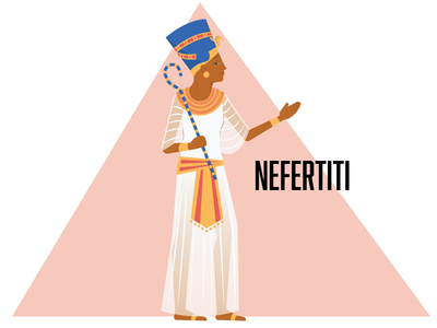 Nefertiti character illustration design vector illustrator graphic design pharaoh egypt historical figures world history ancient egypt nefertiti queen