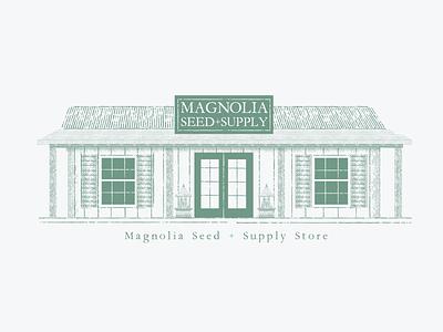 Magnolia Seed + Supply poster building hgtv fixer upper joanna gaines gaines texas garden waco branding adobe logo illustration vector illustrator graphic design design