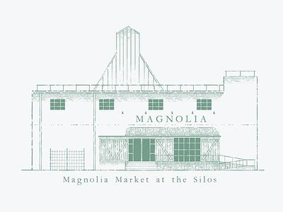 Magnolia Market at the Silos vintage ink poster storefront joanna gaines gaines fixer upper texas waco magnolia building store branding adobe illustration vector illustrator graphic design design