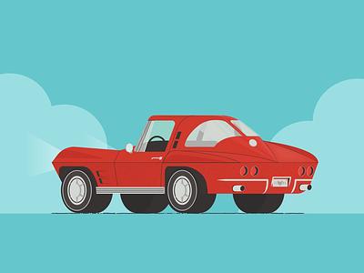 '63 Corvette Split Window fathers day concept split window classic car vintage car corvette branding adobe illustration vector illustrator graphic design design