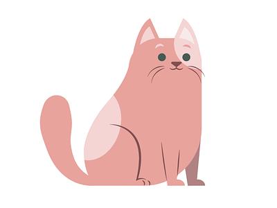 Pink Cat kitten cat pet mascot logo character illustration vector illustrator graphic design design