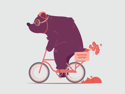 Beary Special Valentines Delivery character design heart delivery valentine valentines day bike bear animation adobe character illustration vector illustrator graphic design design