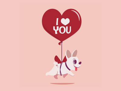 Bare Tree Media Valentines balloon valentines day valentine valentines puppy dog adobe character design motion graphics animation character illustration vector illustrator graphic design design
