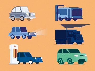 Vector Cars bus trucks electric cars clean energy energy cartoon cars vector cars cars illustration vector illustrator graphic design design