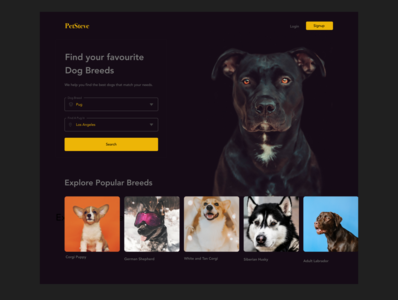 Landing page design - Dog site #DailyUI-003
