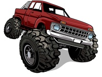 Truck Bigfoot Red
