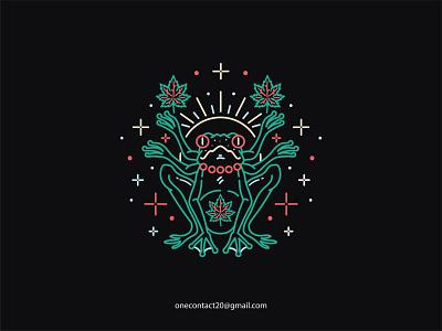 Frog Addict neon light cannabis logo cannabis branding cannabis design neon cannabis frog merchandise design merchandise merch vintage badge tshirt design vintage illustration design badgedesign vector illustrator graphic design monoline illustration