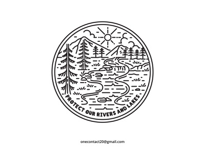 Protect Our Rivers and Lakes travel animal sign sea art background outdoor abstract element line logo icon graphic symbol water river design nature vector illustration