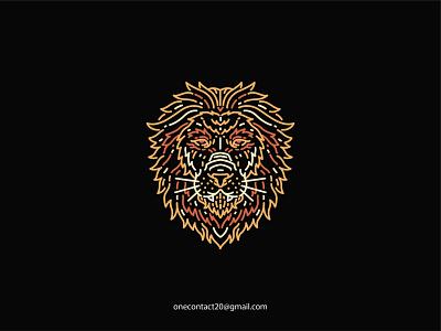 Lion Gangster danger wildlife nature black sign art cat emblem strength wild background graphic tshirt head symbol animal design vector illustration lion
