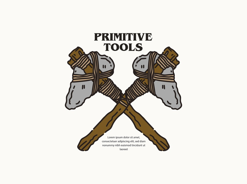 PRIMITIVE TOOLS retro clothing brand clothing design clothing apparel culture tee design monoline vintage badges vintage illustration tshirt design artist illustrator illustration design vector graphic design