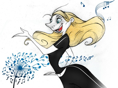 MUSIC FIT exercises fit charachter design black and white dibujo fitness hair sexy pretty disney girl beauty cute draw illustration hand draw cartoon color pencil music