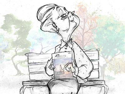 (JW) beautiful old lady character design digital anime manga fun funny park city street lovely cute art dibujo disney cute woman lady illustration hand draw pencil cartoon jw