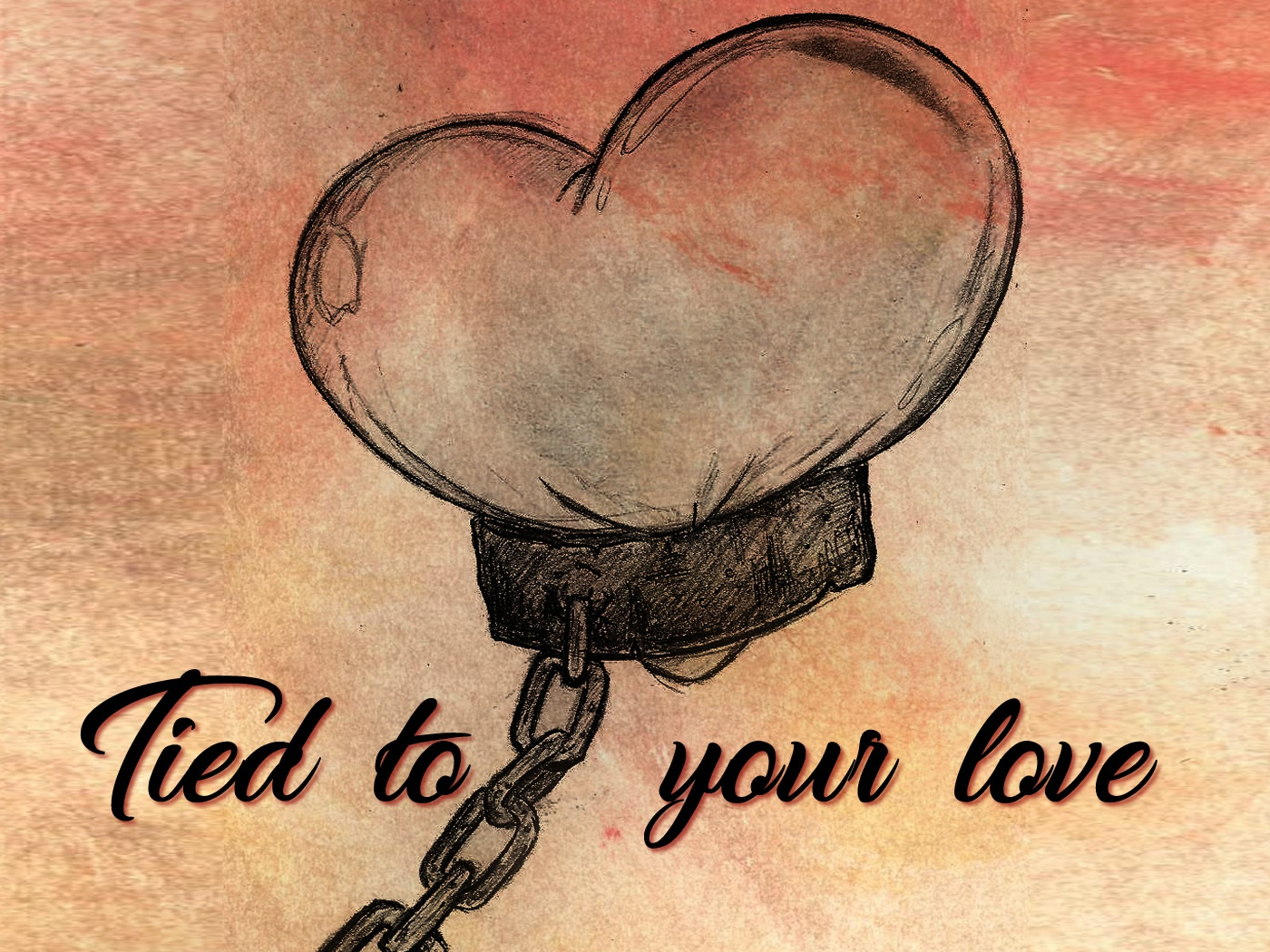 tied to your love digital children editorial art black and white dibujo card art funny girl pencil disney hand draw illustration cute heart draw sketch pretty inlove love slave