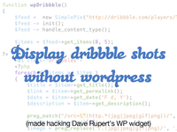 Display dribbble shots without a plug-in